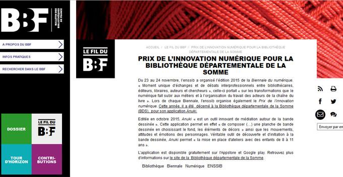 L'application Anuki produite par la Bibliothèque départementale de la Somme reçoit un Prix de l'innovation numérique