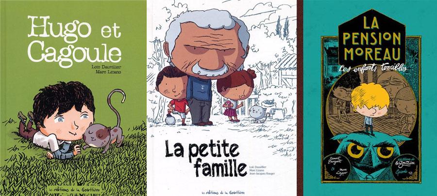Couvertures de Marc Lizano - Hugo et Cagoule - La Petite Famille - La Pension Moreau
