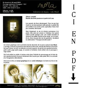Présentation livre Nora de Léa Mazé éditions de la Gouttière