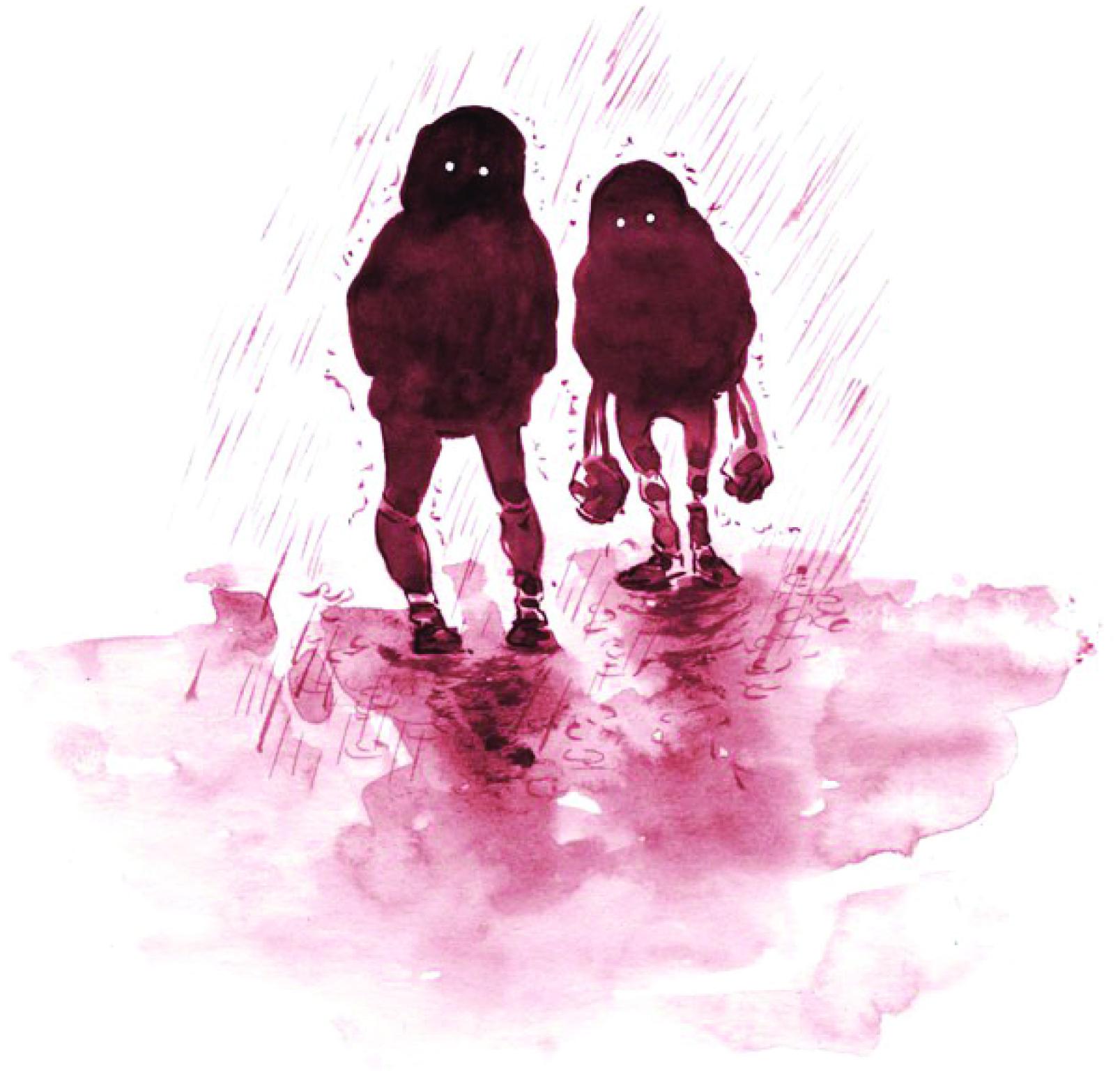 Silhouettes bonhommes de pluie